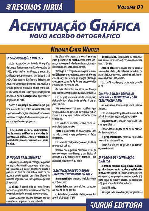Resumos Juruá - Língua Portuguesa - Acentuação Gráfica - Novo Acordo Ortográfico