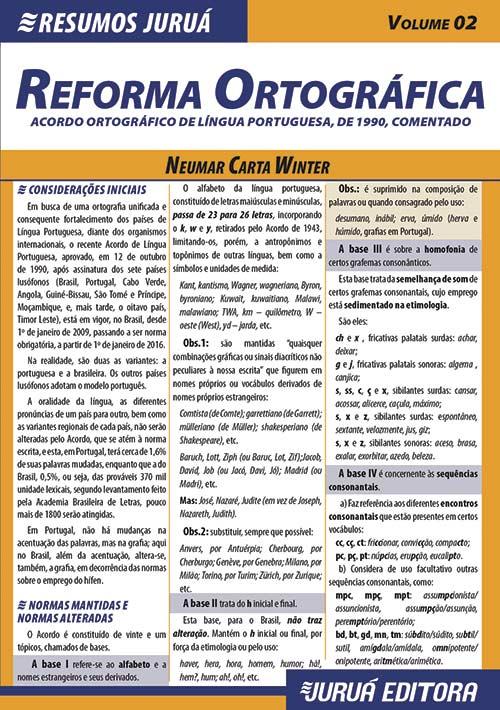 Resumos Juruá - Língua Portuguesa - Reforma Ortográfica – Acordo Ortográfico de Língua Portuguesa, de 1990, Comentado